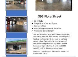 3640sqft. Open Concept Commercial Unit