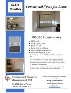 Ground Floor Commercial Unit - 1000 Sqft