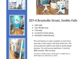 Gorgeous commercial space available in Smith's Falls busy plaza.